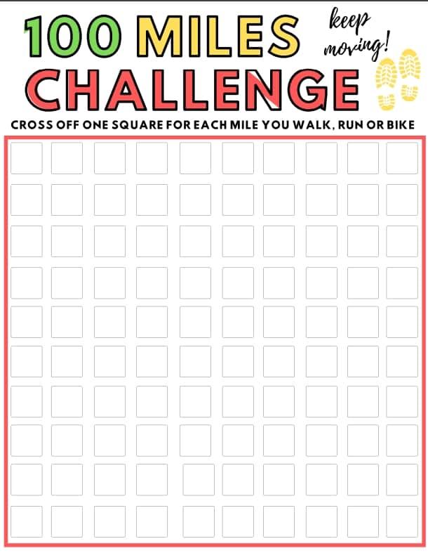 100 Miles Challenge Printable