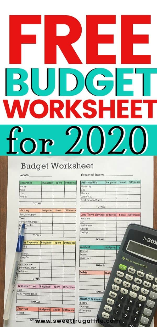 Free Budget worksheet Printable -how to start budgeting this year