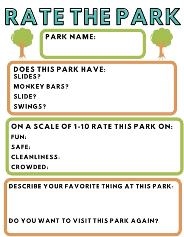 Rate The Park printable