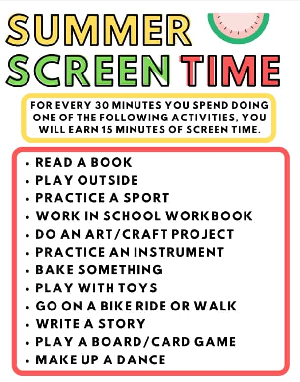 summer screen time printable