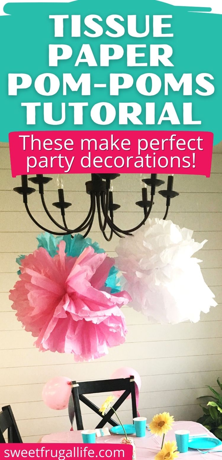 homemade pom poms birthday decoration
