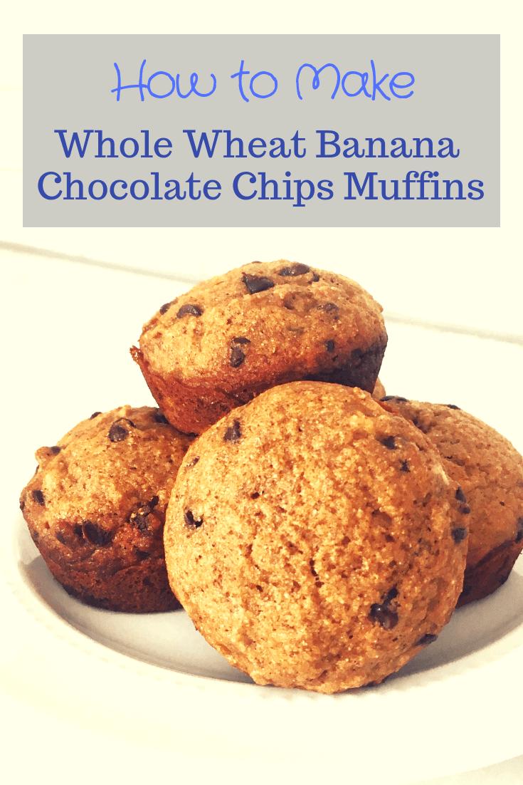 whole wheat banana chocolate chips muffins