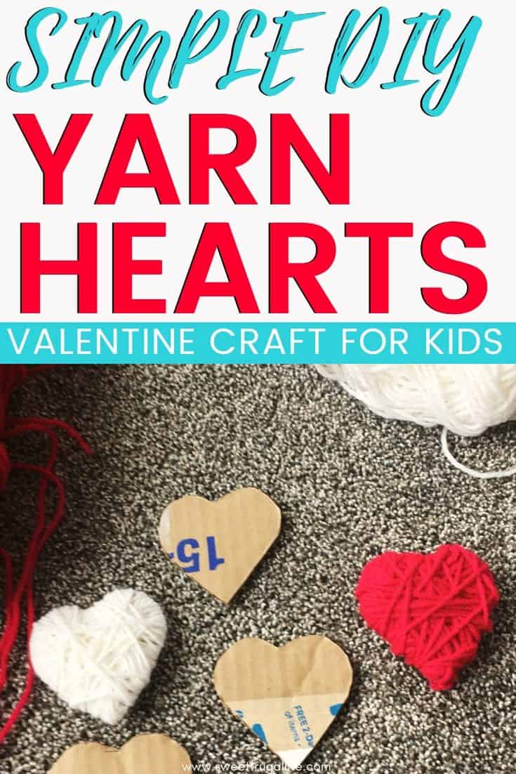 diy yarn heart craft - easy valentine craft