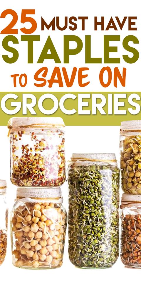 Save Money on Groceries With These Pantry Staples #savingmoney #frugalliving #frugallivingtips #savingmoney #debtfree #frugal #cheapfoods