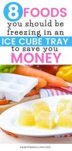 Freeze these foods in ice cube trays to prevent food waste and to save you time and money #grocerybudget #savingmoney #foodtips #savemoneyonfood #frugaltips #zerowaste